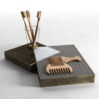 Tray with Toothbrushes and Combs.