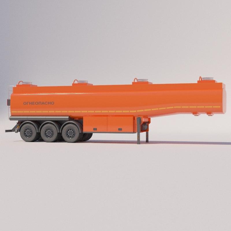 petrol semi-trailer 3D model