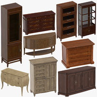 3D classical furniture cabinet dresser model