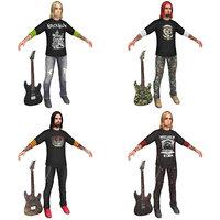 pack guitar player 3D model