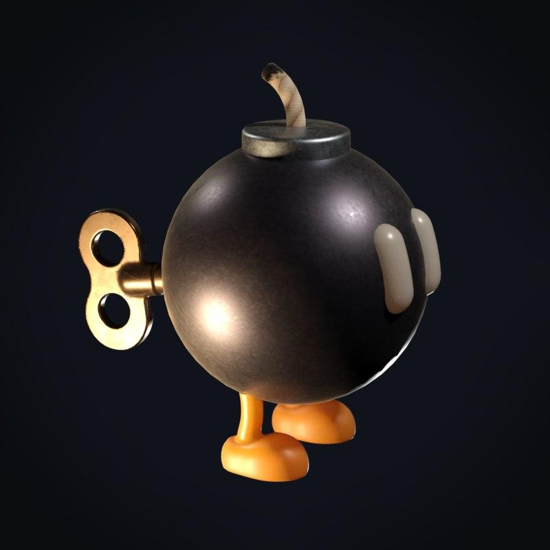 bob omb mario bomb 3d turbosquid 1304726