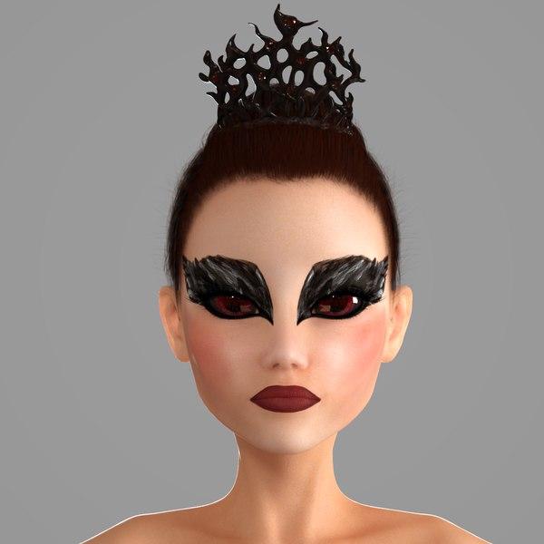 3D ballerina black swan model