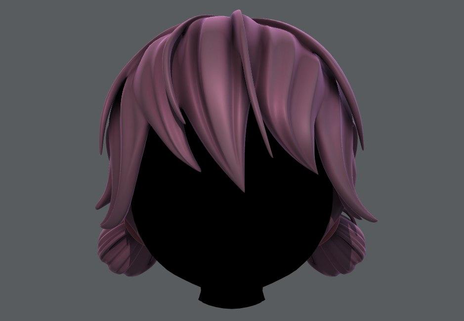 girl hair 3D model