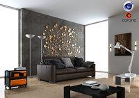3D model living room corona