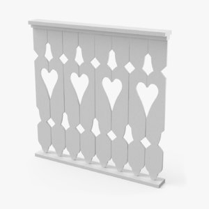 wooden fence 3D
