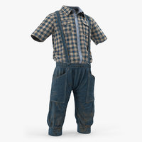 vintage denim costume 3D model