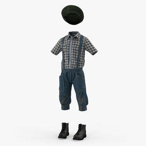 3D vintage boy clothes