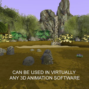 cartoon waterfall forest animations model