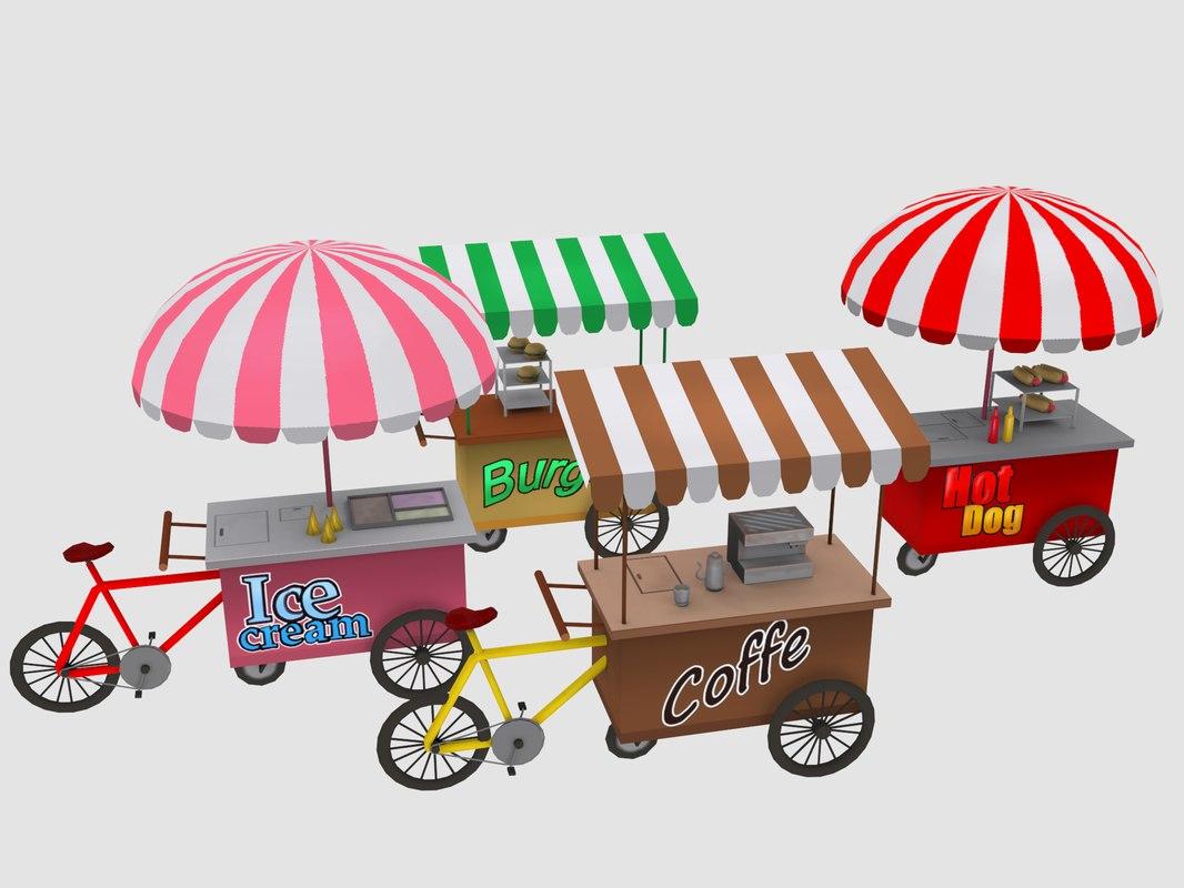 3D food carts cartoon model