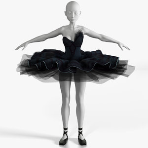 3D ballerina black swan dress