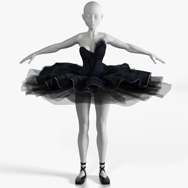3D ballerina black swan dress
