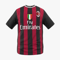 3D model soccer t-shirt milan 2