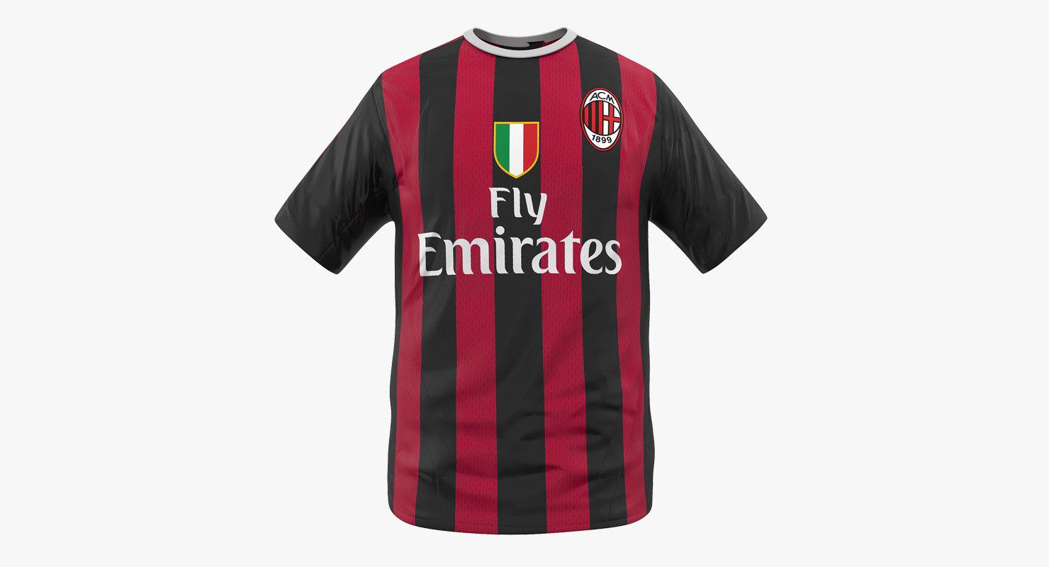 3D model soccer t-shirt milan 2