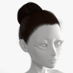 3D model ballerina hairstyle hair