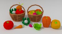 3D assets vegetable basket model