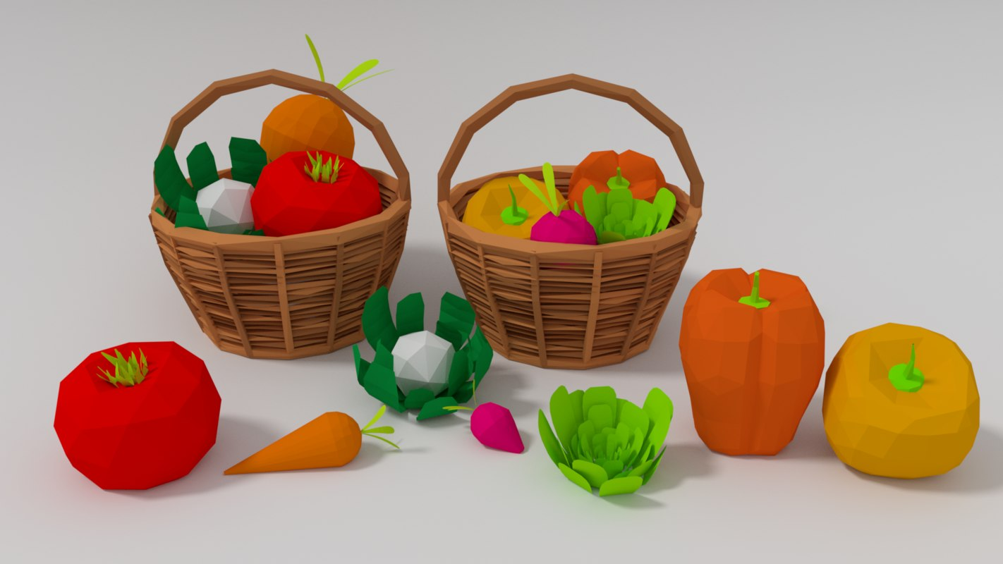 3D assets vegetable basket model