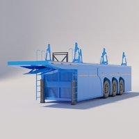 semitrailer panel truck 3D model