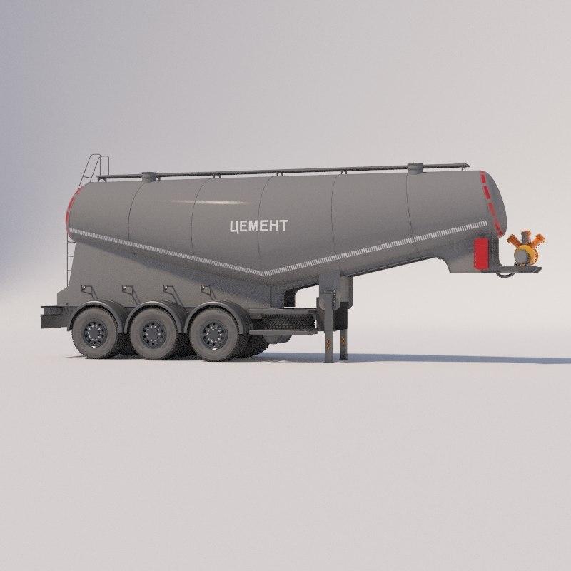 3D semitrailers-cement trucks model