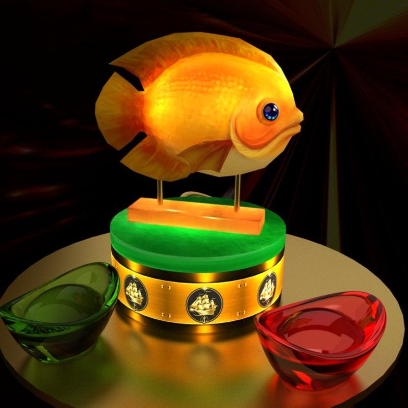 3D model chinese gold ingot fish
