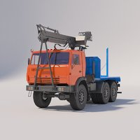 timber carrier kamaz 3D model