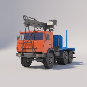 timber carrier kamaz 3D model