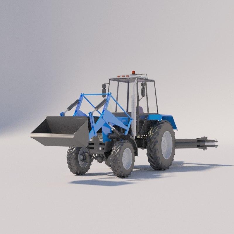3D model tractor belarus mtz