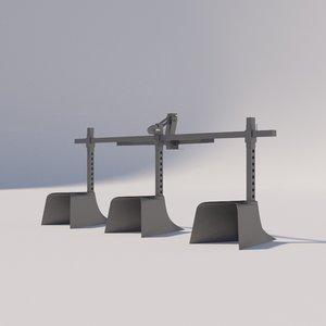 triple hiller minitractor 3D model