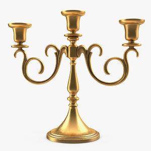 3D gold candlestick