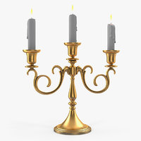 3D candelabra gold candles