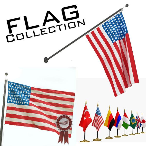 flag wall table 3D model