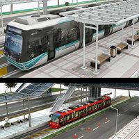 3D model tram station