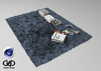 Fur Carpet And Books C4D Vray