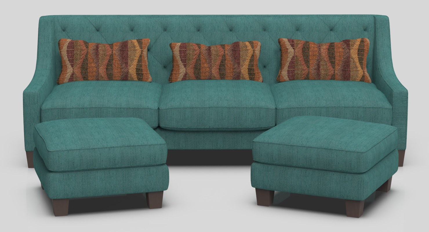 realistic miracle sofa ottomans 3D model