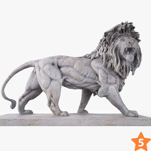 3D stone lion sculpture model