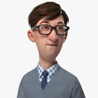 3D office guy cartoon tall model
