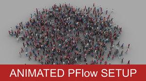 crowd pflow setup 3D model