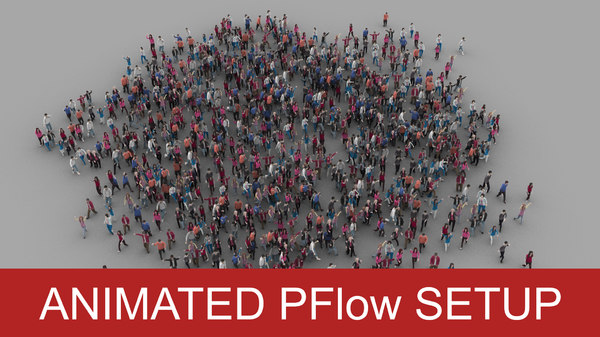 crowd pflow setup 3D model