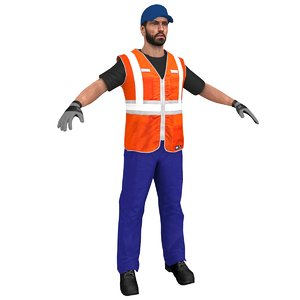 character worker person 3D model