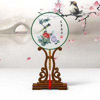 Chinese Traditional Palace Round Hand Fan With Stand