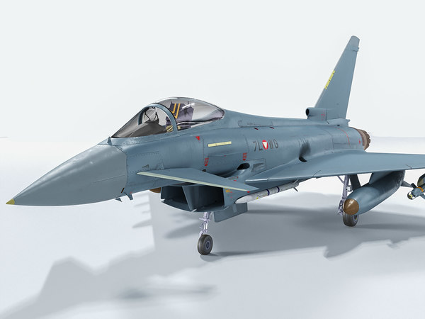 eurofighter typhoon fighter rigged 3D model