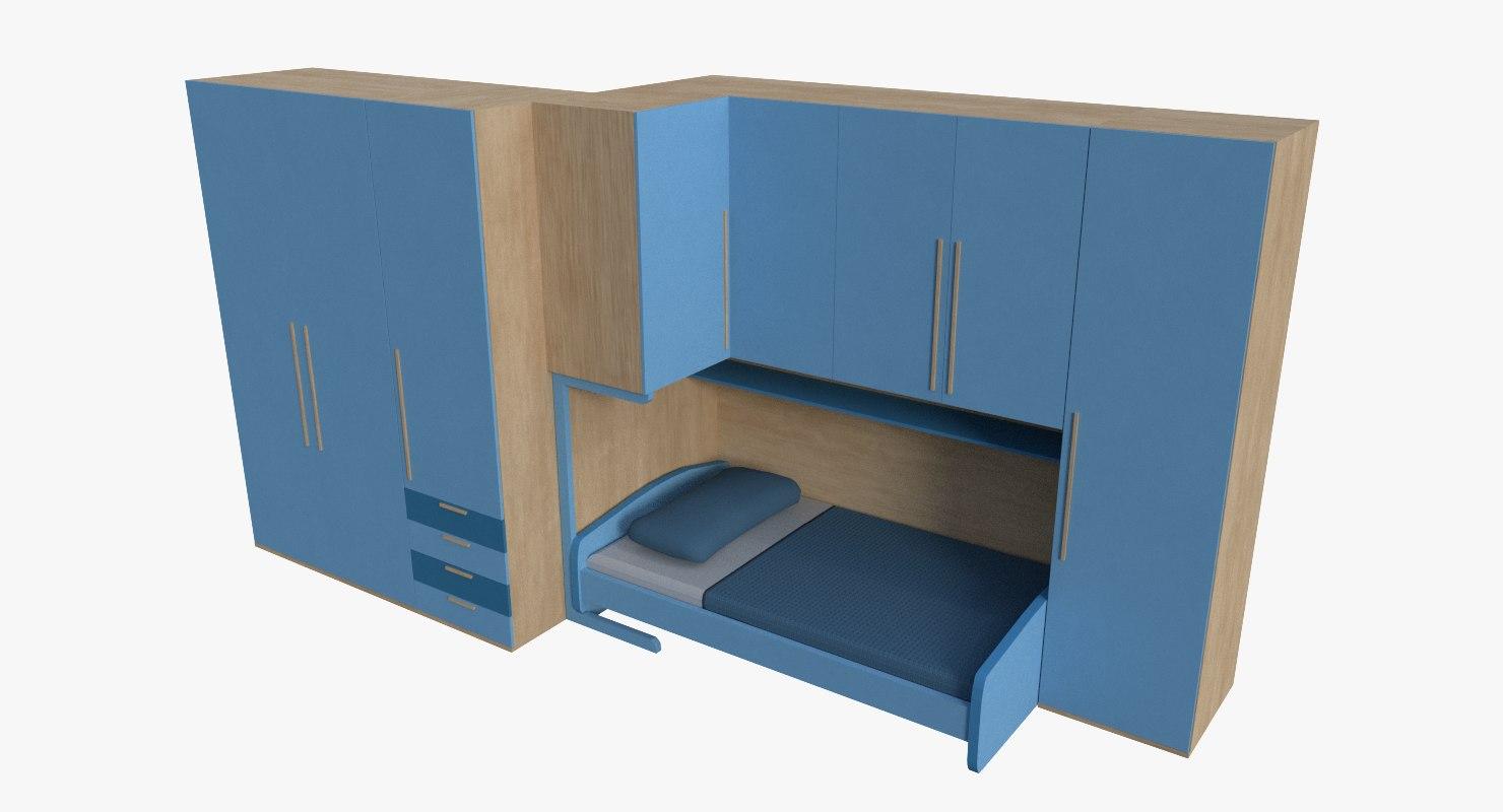 wardrobe bed 3D model