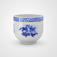 Chinese Blue and White Porcelain Teacup - Peony and Fu
