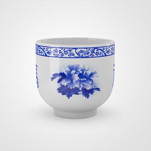 3D chinese ceramic - peony
