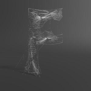 3D web letter f model