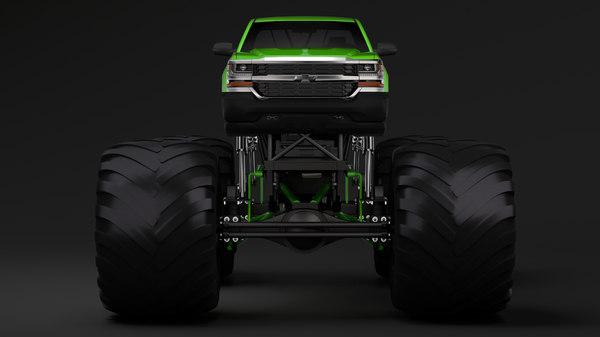 monster truck chevrolet silverado 3D model