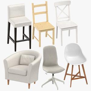 scandinavian chairs 3D model