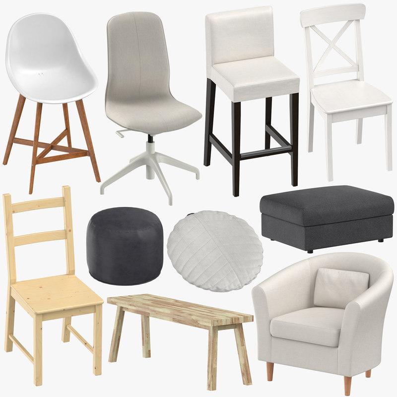 3D scandinavian chairs stools pouf