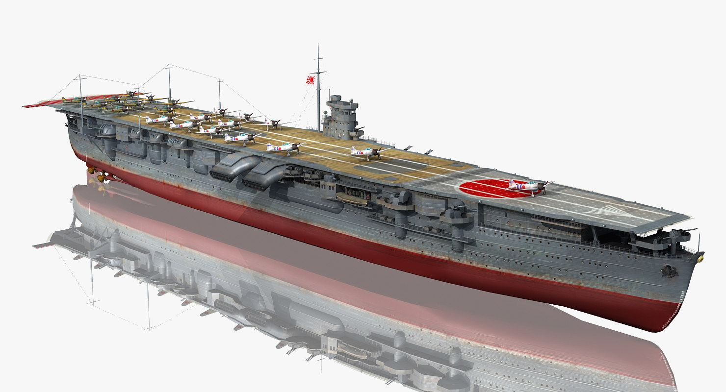 3D japanese aircraft carrier hiryu model