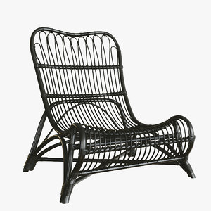 wicker lounge armchair house 3D