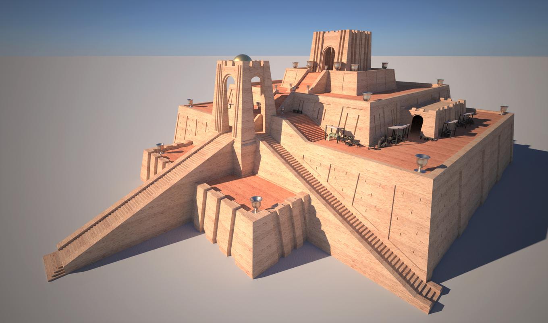 3D sumerian ziggurat ur model